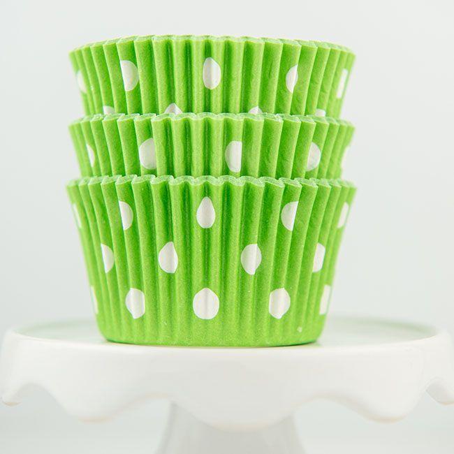 Polka Dot Lime Green Cupcake Liners - Lime Baking Cups - Polka Dot Cupcake Cups