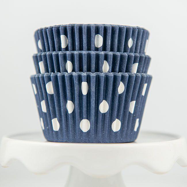 Polka Dot Navy Blue Cupcake Liners - Navy Blue Baking Cups - Polka Dot Cupcake Cups