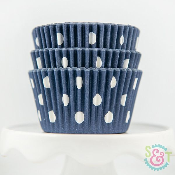 Dot Cupcake Liners: Navy Blue