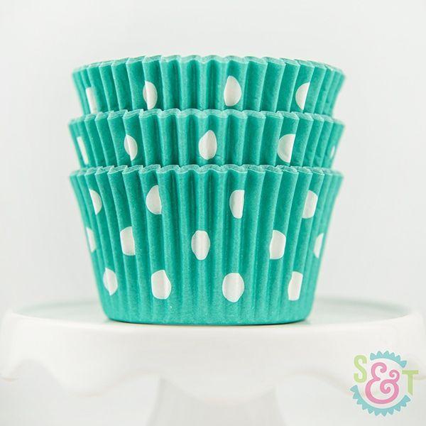 Dot Cupcake Liners: Teal