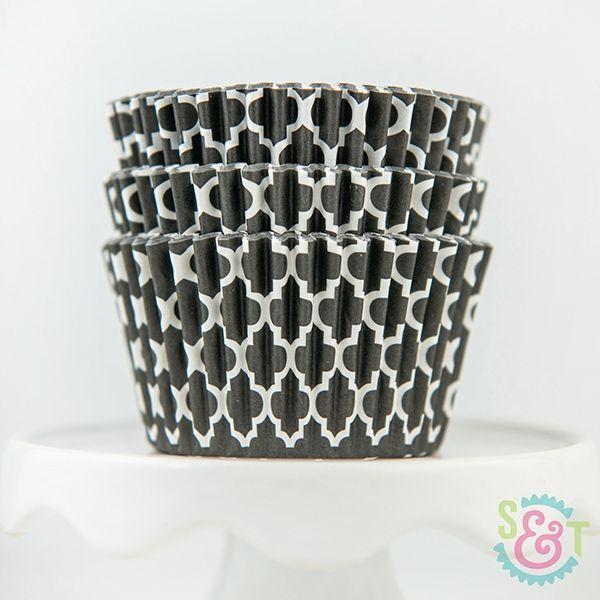 Quatrefoil Cupcake Liners: Black