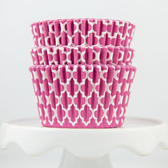 Quatrefoil Pink Cupcake Liners - Pink Baking Cups - Quatrefoil Cupcake Cups