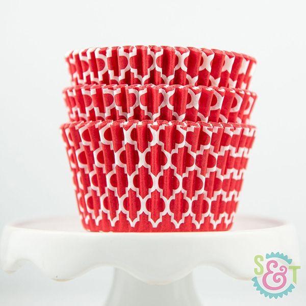 Quatrefoil Cupcake Liners: Red
