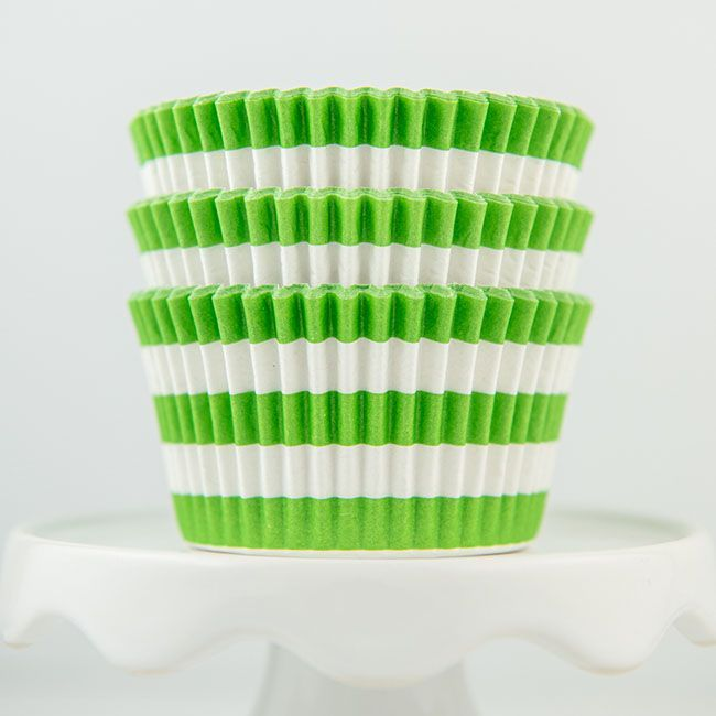 Rugby Striped Lime Cupcake Liners - Lime Baking Cups - Striped Cupcake Cups