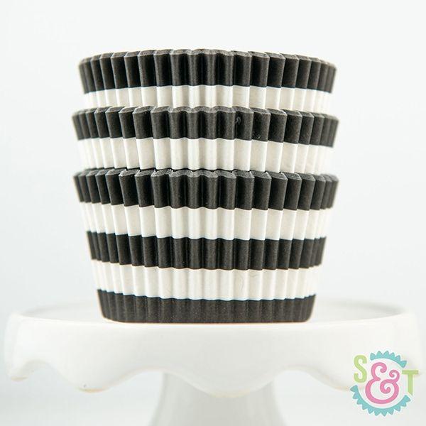 Rugby Stripe Cupcake Liners: Black