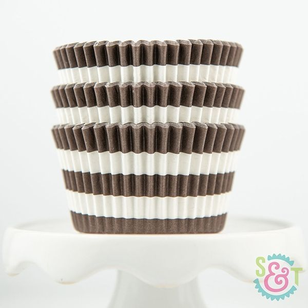 Rugby Stripe Cupcake Liners: Brown
