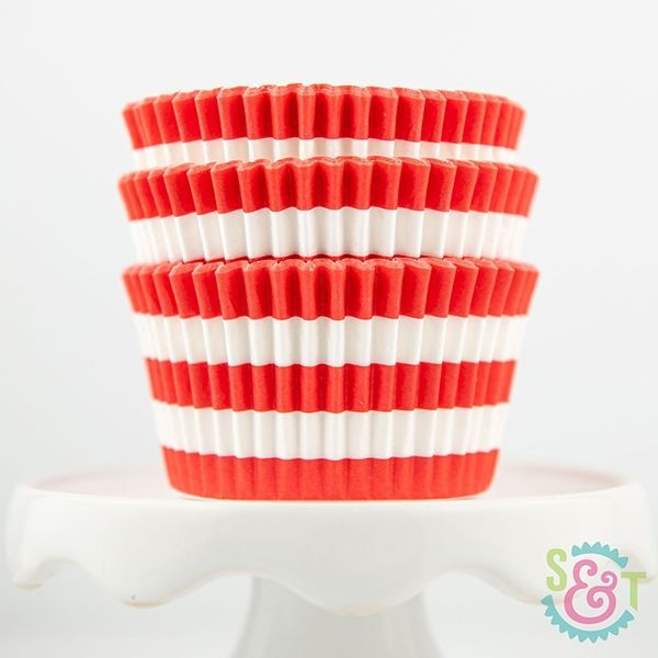 Rugby Stripe Cupcake Liners: Coral