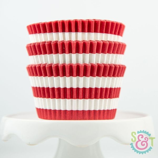 Rugby Stripe Cupcake Liners: Red