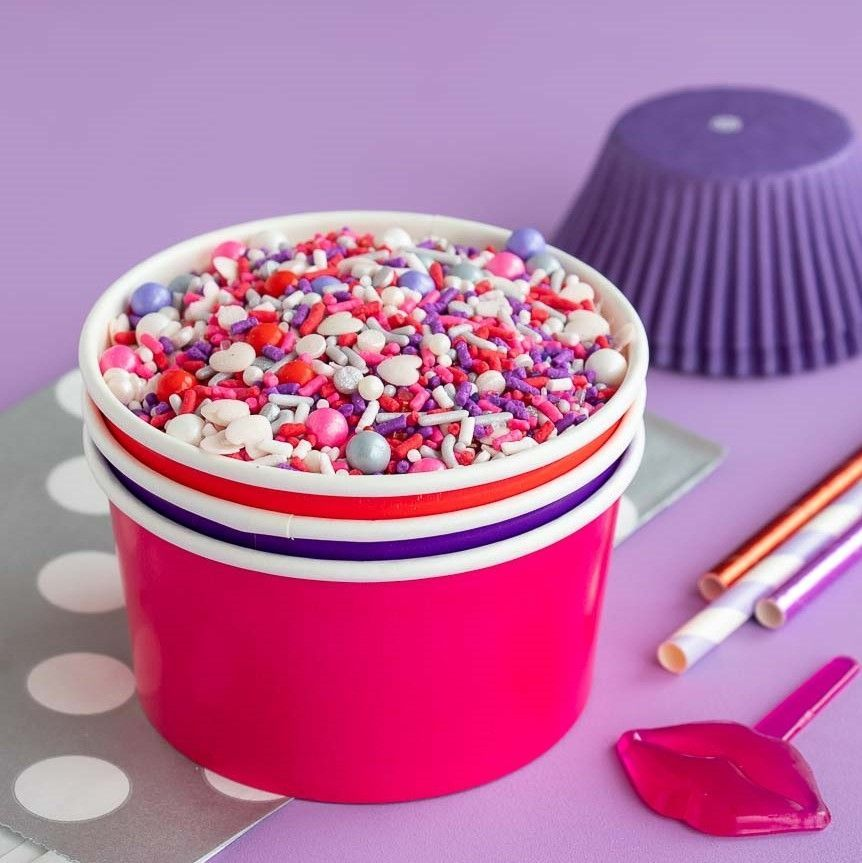 Solid Color Ice Cream Cups- Valentines Party Supplies