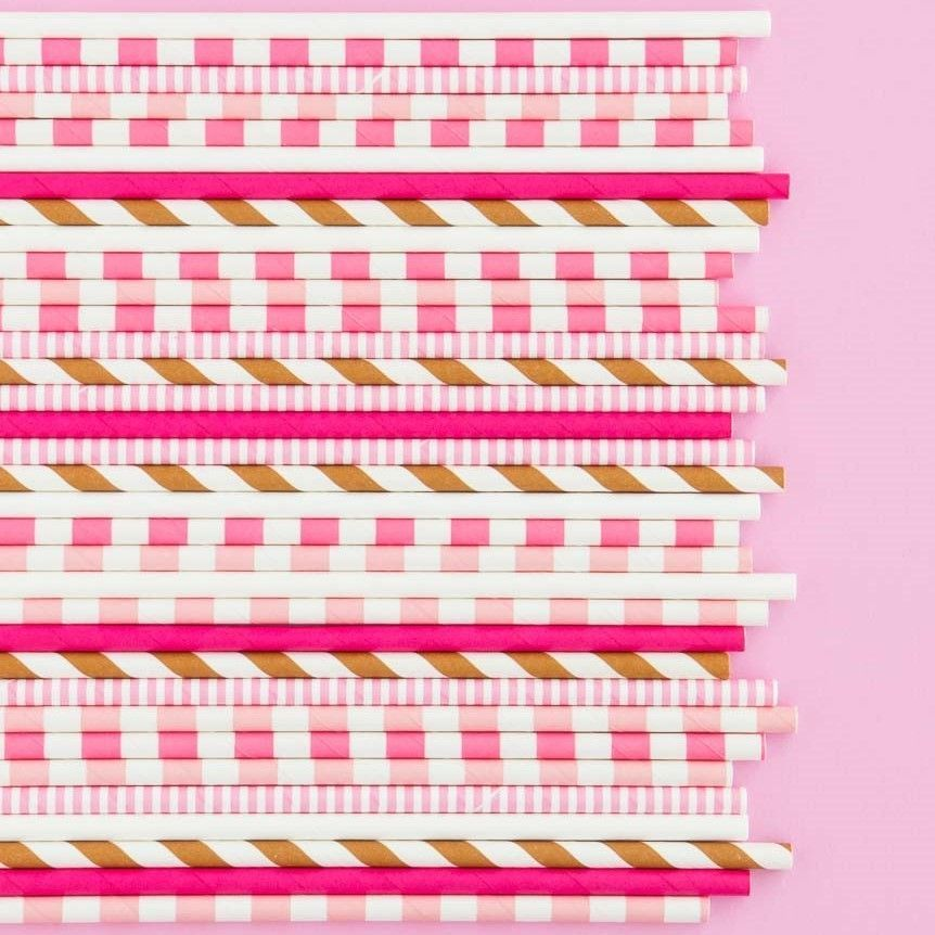 Pink Rugby Striped Paper Straws- Ice Cream Party Straws- Striped Paper Straws