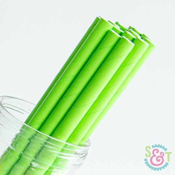 Solid Paper Straws: Lime