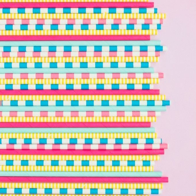 Solid Pink Paper Straws- Prep School Party Paper Straws- Solid Colored Paper Straws