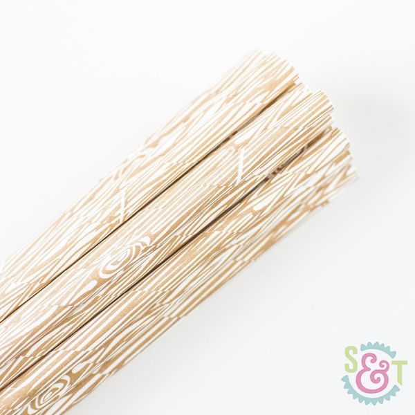 Pattern Paper Straws: Wood Brown