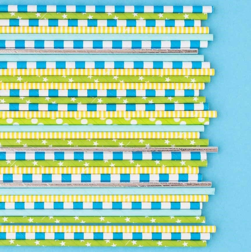 Blue Rugby Striped Paper Straws - Striped Paper Straws