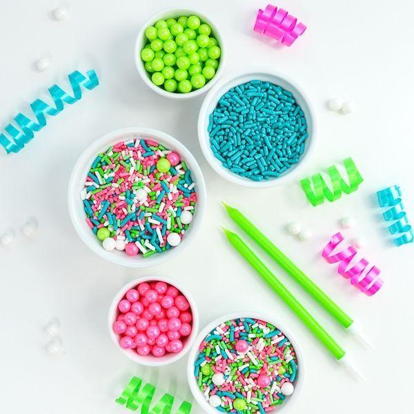 Cake Sprinkles - Pink, Teal, Lime Sprinkles - Sugar Sprinkles