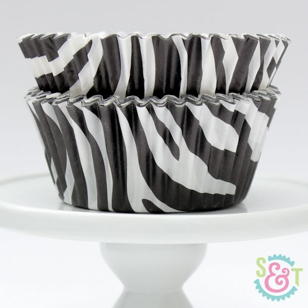 Zebra Cupcake Liners: Black