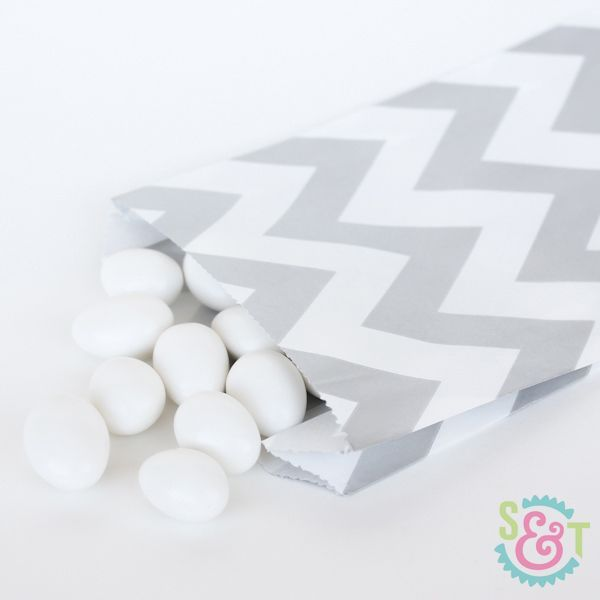 Silver Chevron Goodie Bags - Silver Goody Bags - Party Favor Bags