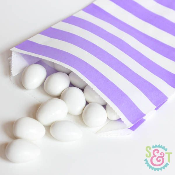 Rugby Stripe Goodie Bags: Light Purple