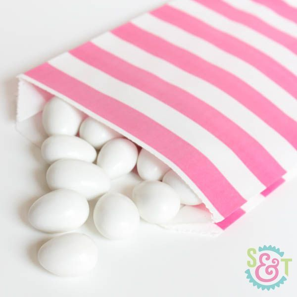 Pink Rugby Striped Goodie Bags - Pink Goody Bags - Party Favor Bags