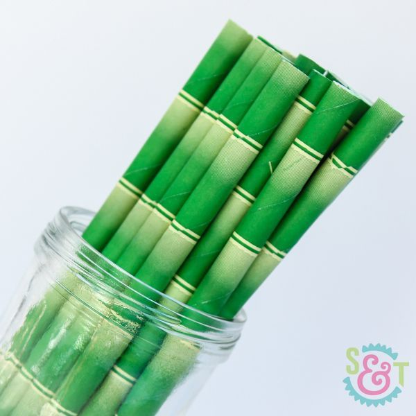 Bamboo Paper Straws: Green