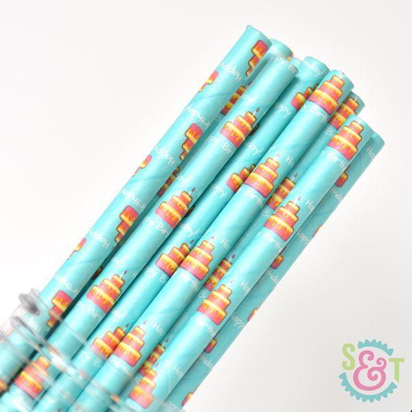 Pattern Paper Straws: Birthday Cake