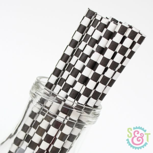 Checkered Paper Straws: Black