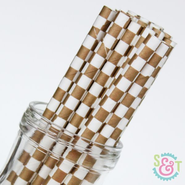 Checkered Paper Straws: Gold Metallic