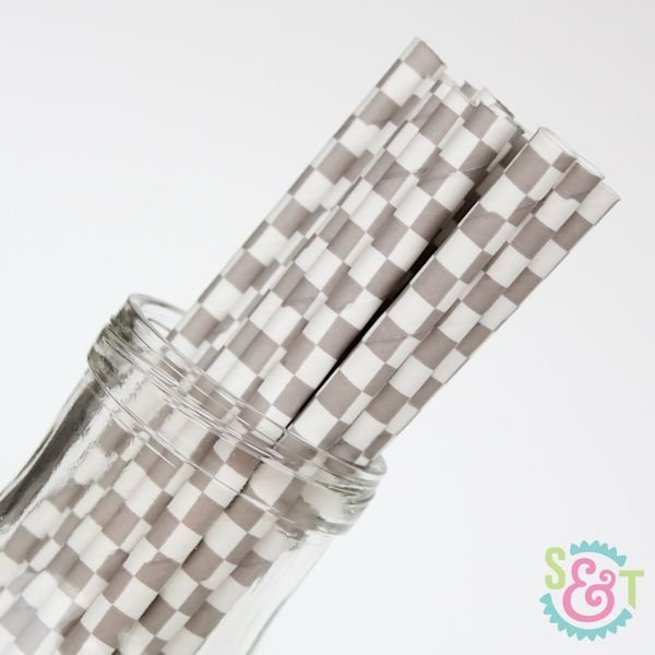 Checkered Paper Straws: Gray