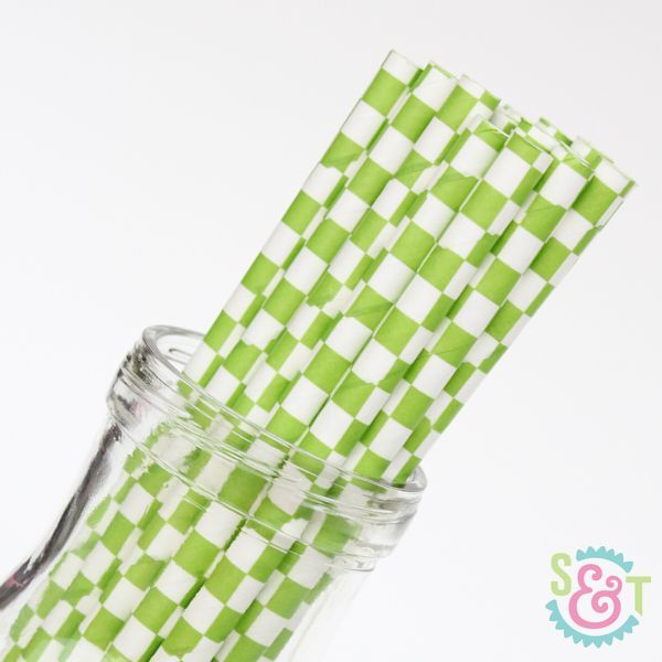 Checkered Paper Straws: Lime Green