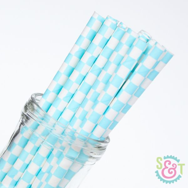 Checkered Paper Straws: Light Blue