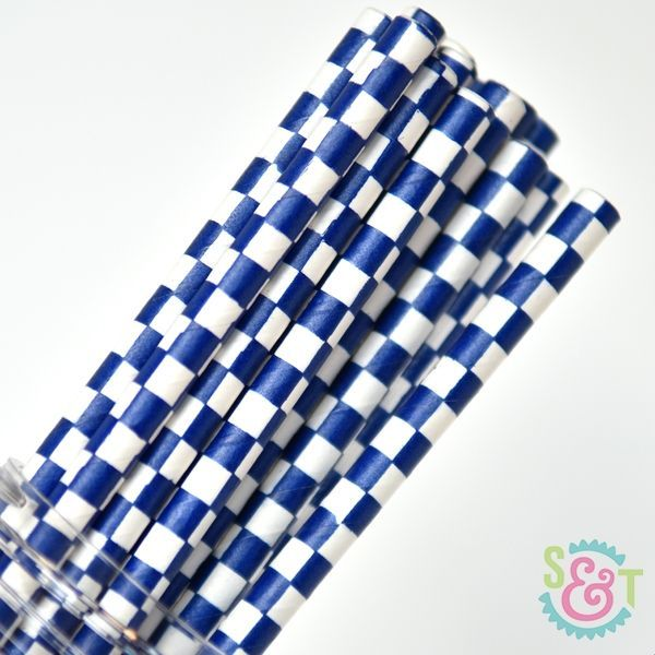 Checkered Paper Straws: Navy Blue