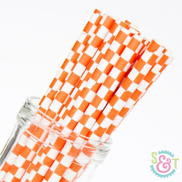 Checkered Paper Straws: Orange