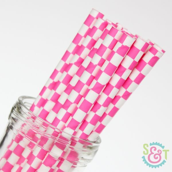 Pink Checkered Paper Straws - Pink Paper Straws