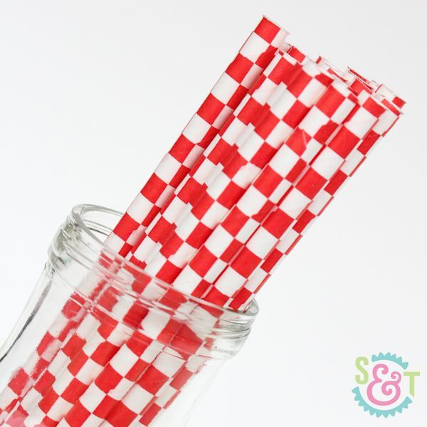 Checkered Paper Straws: Red