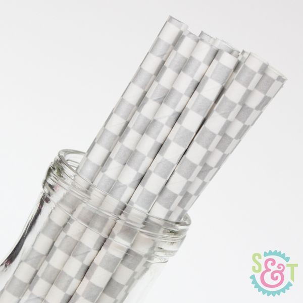 Checkered Paper Straws: Silver Metallic