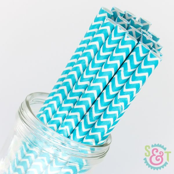 Chevron Paper Straws: Aqua Blue