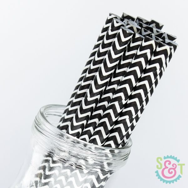 Chevron Paper Straws: Black