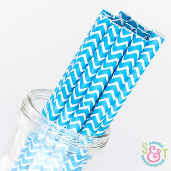 Chevron Paper Straws: Blue