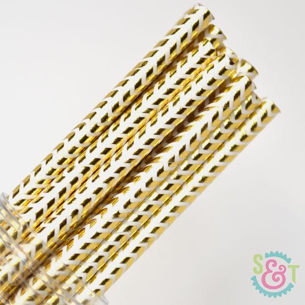 Chevron Paper Straws: Gold Foil