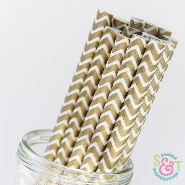 Chevron Paper Straws: Gold Metallic