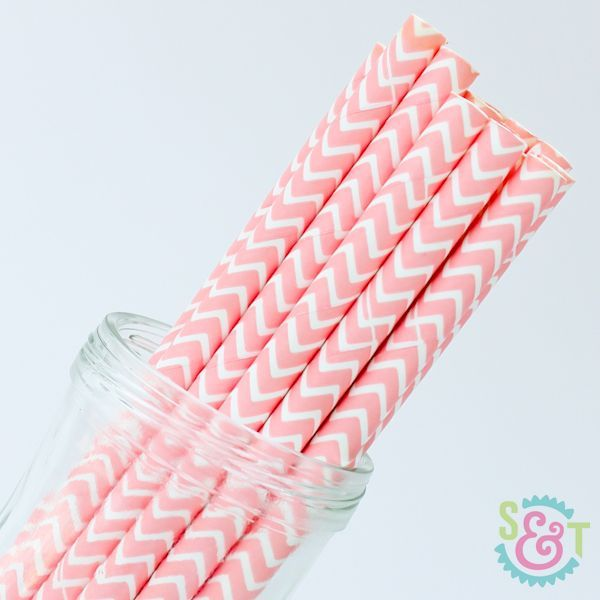 Chevron Paper Straws: Light Pink