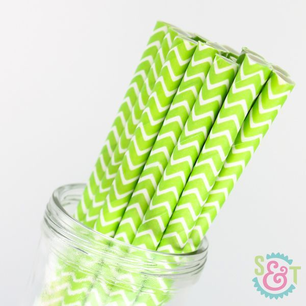 Lime Green Chevron Paper Straws - Lime Green Paper Straws