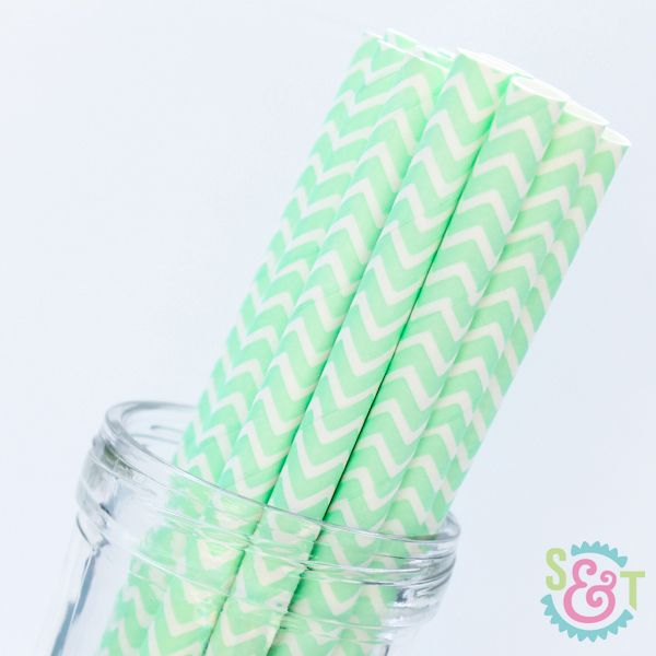 Chevron Paper Straws: Mint Light Green