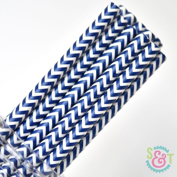 Chevron Paper Straws: Navy Blue