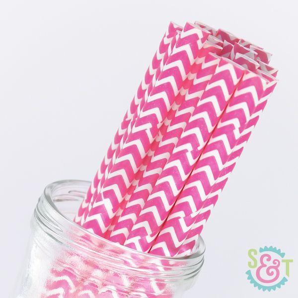 Chevron Paper Straws: Pink
