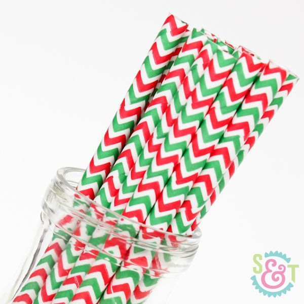 Chevron Paper Straws: Red/Green