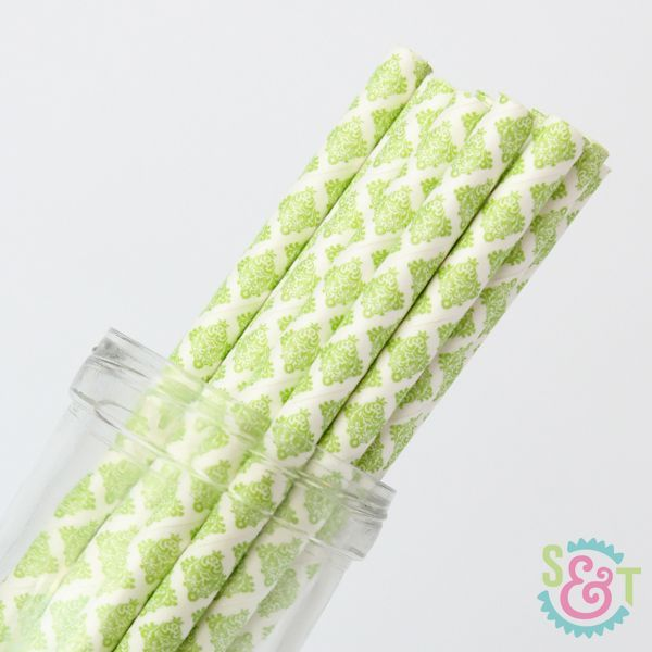 Damask Paper Straws: Lime Green