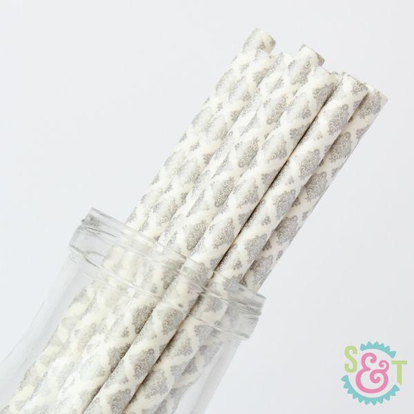 Damask Paper Straws: Silver Metallic