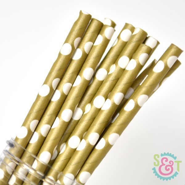 Dot Paper Straws: Gold/White