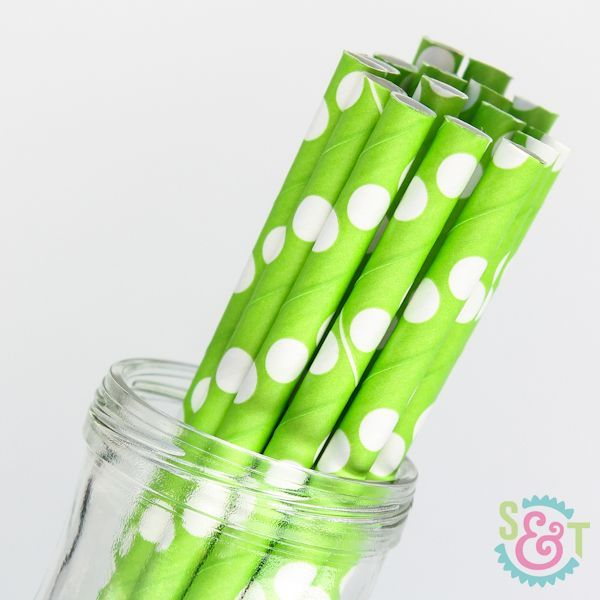 Lime Green Polka Dot Paper Straws - Black Paper Straws